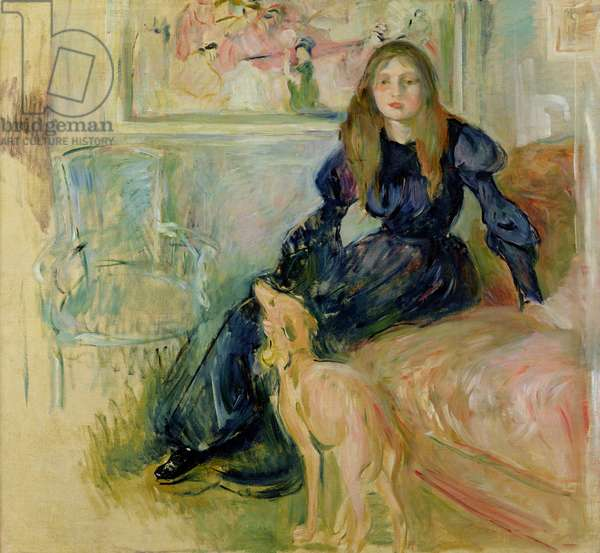 Julie Manet (1878-1966) and her Greyhound Laerte, 1893 (oil on canvas)