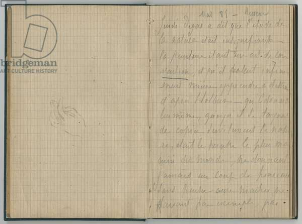 Hand, text, from a sketchbook, May 1885 (pencil on paper)