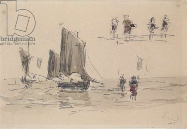 Boats and Fishermen (w/c on paper)