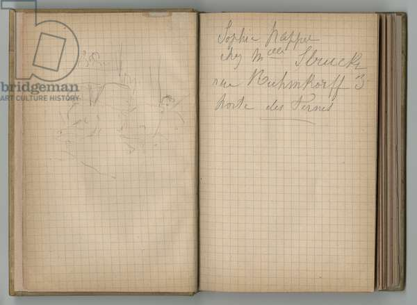 Sketch and handwritten page, from a sketchbook, 1885, 1887-88 (pencil on paper)