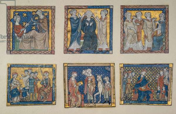 Scenes from a manuscript of Canon law, c.1325-30 (tempera & gold on vellum)