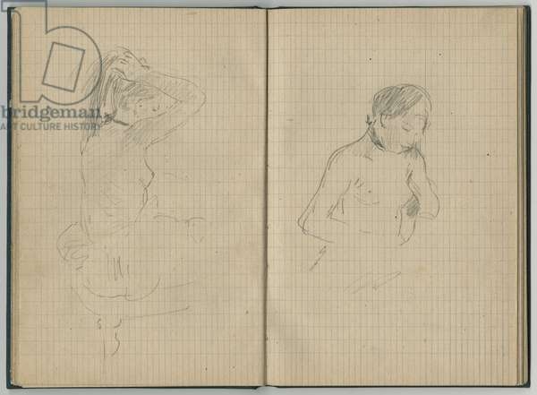 Woman doing her hair and female nude, from a sketchbook, 1886 (pencil on paper)