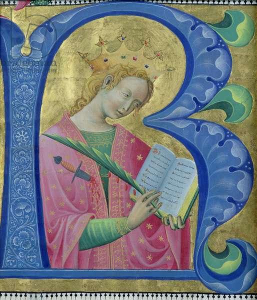 Illuminated initial 'R' depicting St. Catherine of Alexandria, Lombardy School (vellum)