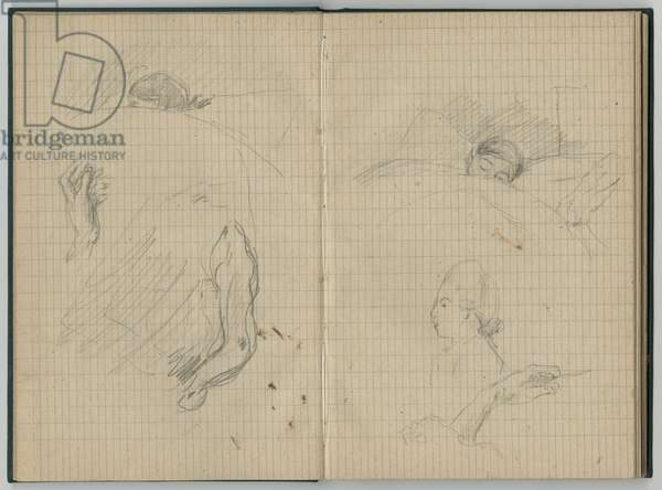 Young girl sleeping, hands and profile, from a sketchbook, 1886 (pencil on paper)
