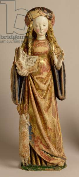 St. Agnes, School of Mechelen, c.1500 (polychrome & gilded oak)
