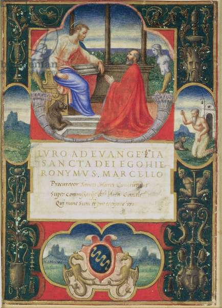 G. Marcello kneeling before St. Marco and St. Jerome and the coat of arms of the Marcello Familly, 1537 (vellum)