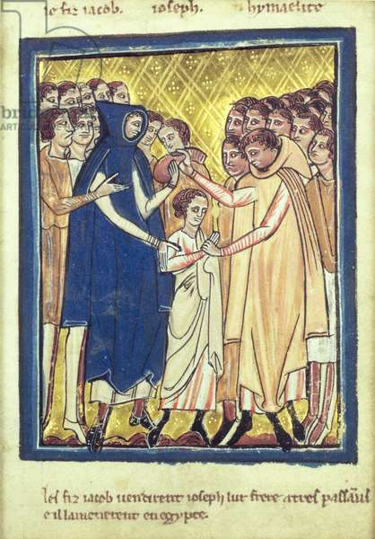 Joseph sold by his brothers, from a book of Bible Pictures, c.1250 (vellum)