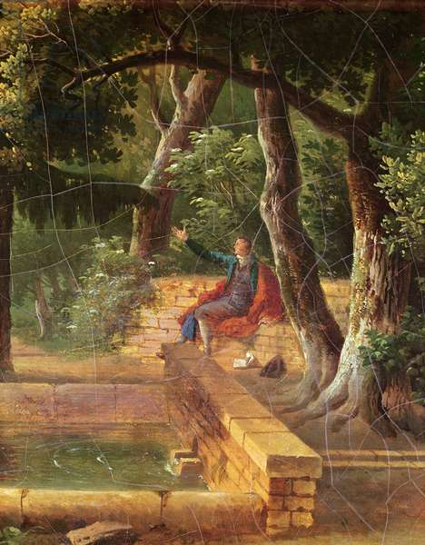 Jean-Jacques Rousseau meditating in the the park at La Rochecordon near Lyon in 1770 (oil on canvas)
