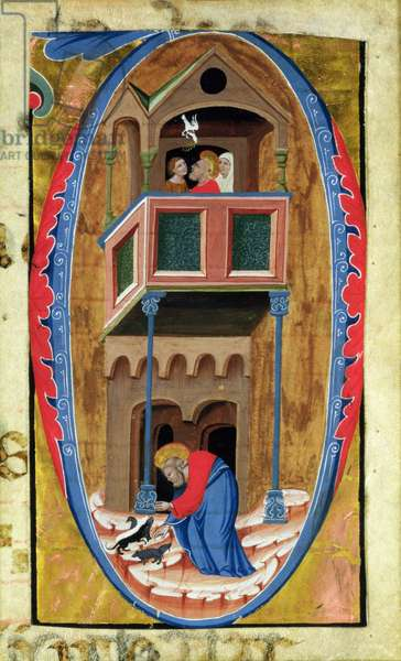 Historiated initial 'D' depicting scenes from the Legend of a Saint, late 14th century, (vellum)