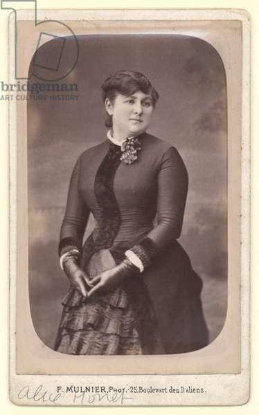 Visiting card depicting Alice Monet (1844-1911) aged 35, 1879 (varnished albumen print) (b/w photo)
