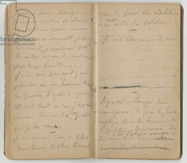 Handwritten pages, from a sketchbook, Mezy, 1890 (pencil on paper)