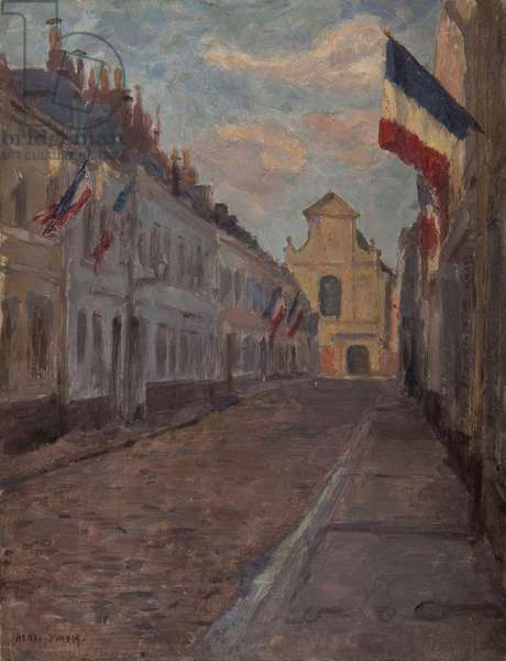 Street decked with flags (oil on panel)