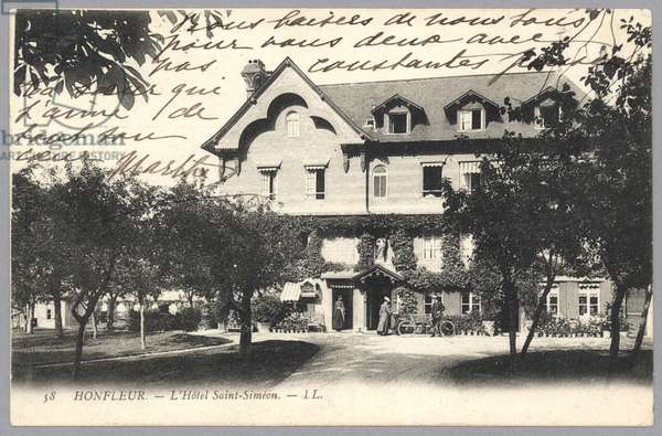 Postcard sent to Alice Hoschedé Monet depicting the Hotel Saint-Simon in Honfleur (b/w photo) (recto for verso see 233968)