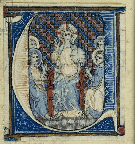 Historiated initial 'U' depicting a Christ in Majesty, c.1320-30 (vellum)