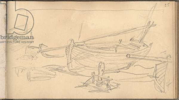 Fishing Boats on the Shingle at Etretat (pencil on paper)