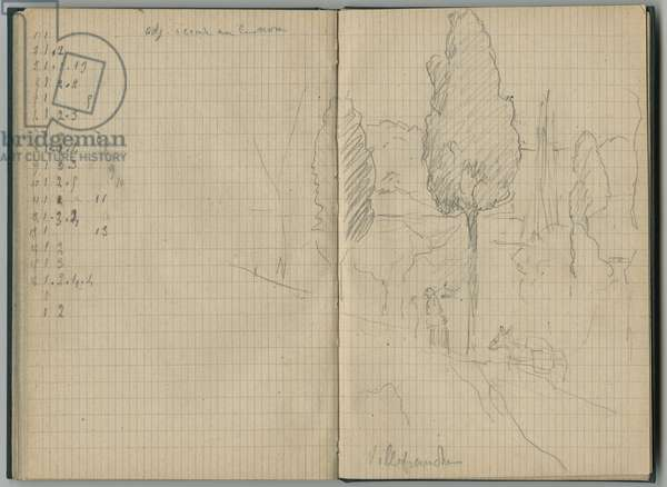 Landscape at Villefranche, from a sketchbook, 1888-89 (pencil on paper)