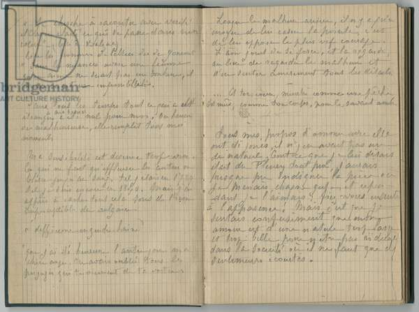 Handwritten pages, from a sketchbook, 1888-89 (pencil on paper)