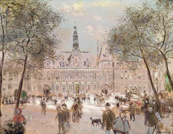 Place de l'Hotel-de-Ville, Paris (oil on canvas)