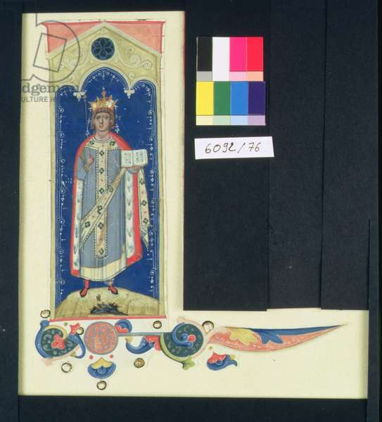 AE II 327 St. Louis (1215-70) Carrying the Sceptre and the Hand of Justice, c.1320 (vellum)