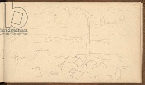 Factories near Rouen (pencil on paper)