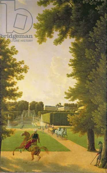 Promenade of Napoleon I (1769-1821) and Marie-Louise (1791-1847) in the Parc de Saint-Cloud in 1810 (oil on canvas)