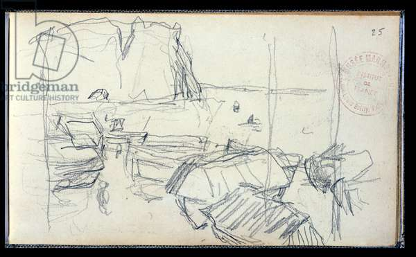 Fishing Boats on the Perrey of Etretat (pencil on paper)