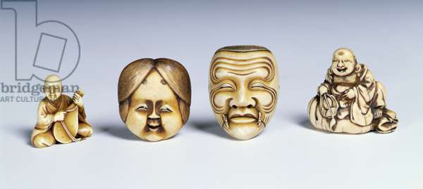 Two masks and two musicians (ivory)