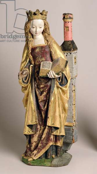 St. Barbara, School of Mechelen, c.1500 (polychrome & gilded oak wood)