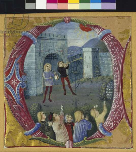 Historiated initial 'C' depicting Heralds anouncing an eclipse (vellum)