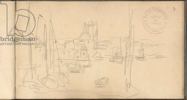 Dieppe, the outer harbour and the church Saint-Jacques (pencil on paper)