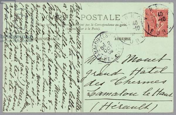 Handwritten postcard sent to Alice Hoschedé Monet (ink on paper) (verso for recto see 233968)