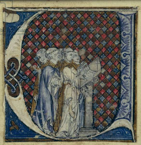 Historiated initial 'U' depicting monks singing, c.1320-30 (vellum)