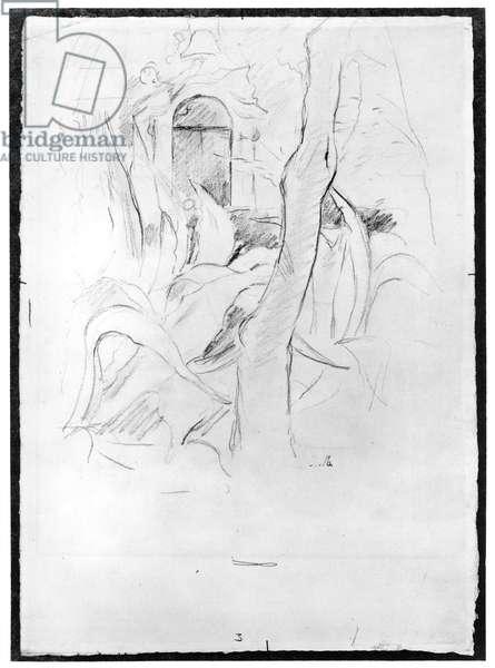 The Aloes at Villa Ratti, 1889 (graphite on paper) (b/w photo)