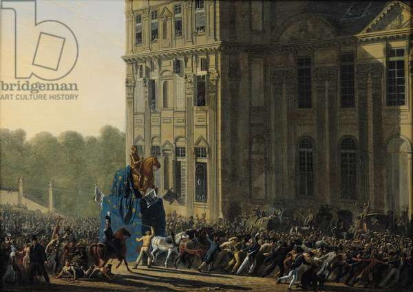 Transporting the Statue of Henri IV (1553-1610) in Front of the Flora Pavilion of the Louvre, 1818 (oil on panel)