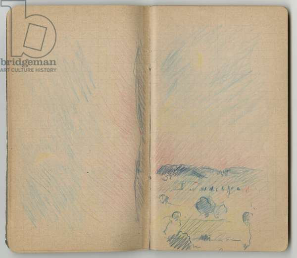Landscape, from a sketchbook, Mezy, 1890 (coloured pencil on paper)