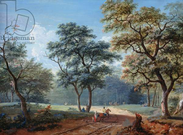 The Bois de Boulogne, 1797 (gouache on paper)