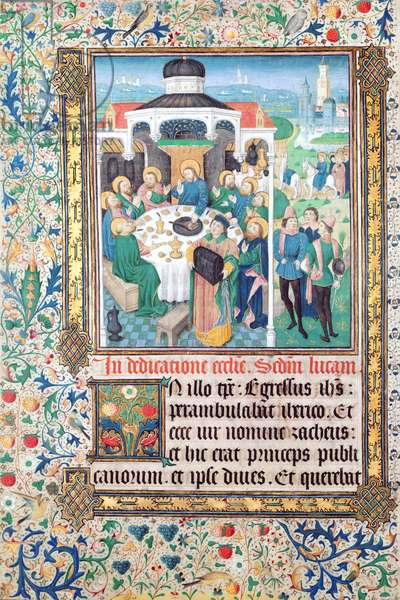 Jesus eating at the house of the tax collector, Zacchaeus and the Entry into Jerusalem, miniatures from the Gospel of Luke (vellum)