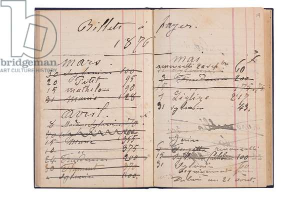 Double page from Monet's book of accounts, detailing bills to pay in the year 1876 (pen & ink on paper)