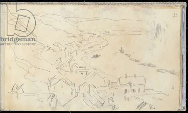 The Seine view from the Heights of Herblay (pencil on paper)