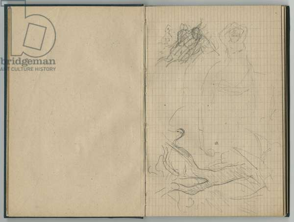 Landscape and female sketches, from a sketchbook, 1888-89 (pencil on paper)
