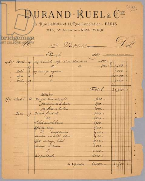 Sales statement of Durand-Ruel regarding Claude Monet, 1891 (ink on paper) (recto for verso see 233970)