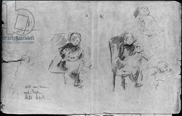 Studies for Little Girl with a Doll, 1884 (black lead on paper)