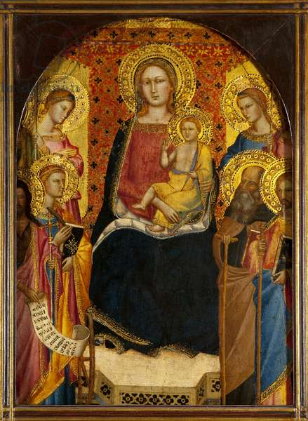 Virgin and child with four saints, including St. John the Baptist and St. Catherine of Alexandria (tempera & gold leaf on panel)