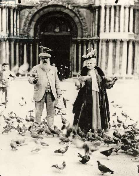 Claude Monet (1840-1926) and his wife, Alice (1844-1911) St. Mark's Square, Venice, October 1908 (b/w photo)