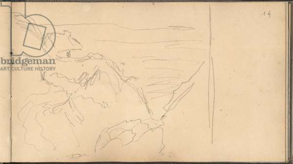 The Customs Officers' Hut and the Gorge of Petit-Ailly (pencil on paper)