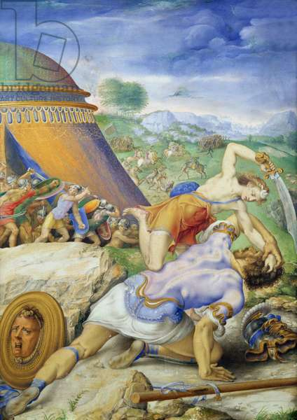 David and Goliath, c.1557-61 (vellum)