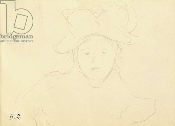 Girl with a hat, 1889 (pencil on paper)