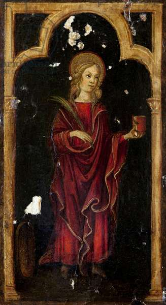 Virgin and child with six saints, detail of St. Catherine of Alexandria, left panel, open triptych, c.1500 (tempera on panel) (see also 442072, 442075 to 442081)