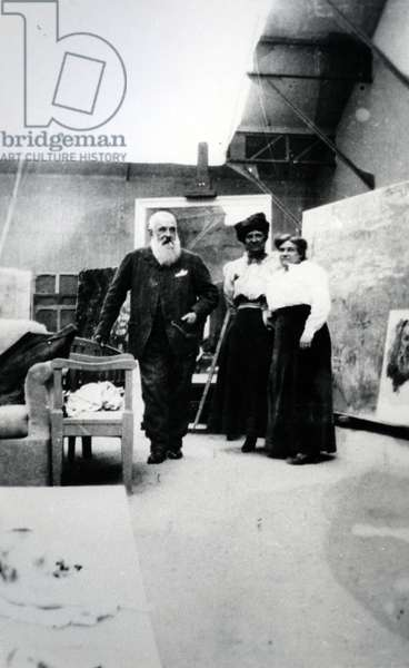 Monet and his step daughter, Blanche Hoschede Monet (b/w photo)