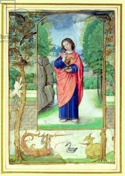 St. John the Evangelist, form a book of Hours (vellum)